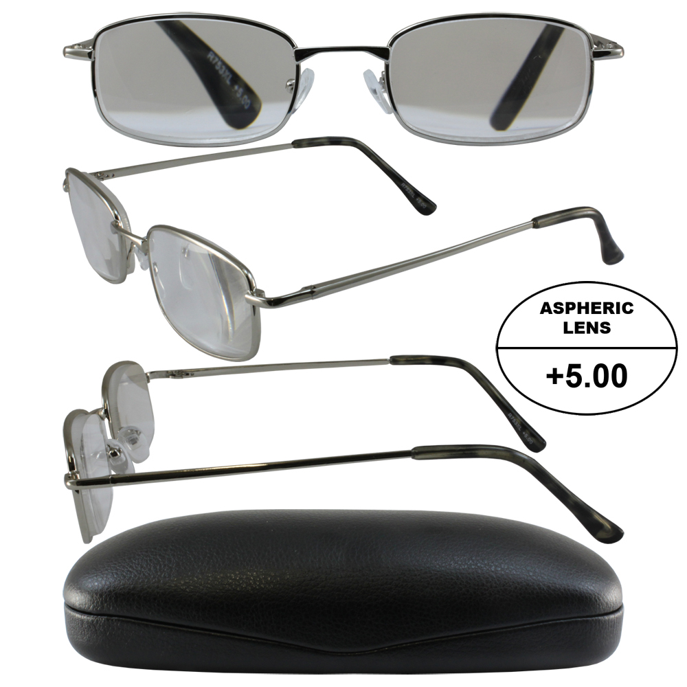 4f980d6fadb 5.0x High Powered Readers - Men s Frame in Silver +5.00 ...